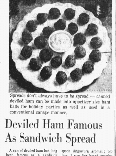 A photo showing a deviled ham appetizer, Dallas Morning News newspaper article 29 December 1958