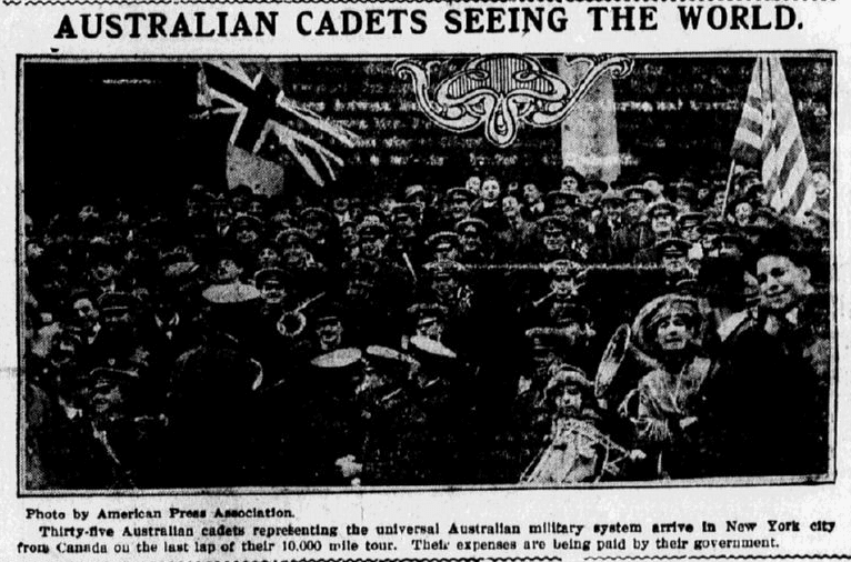 A photo of Australian cadets during WWI, Evening News newspaper article 3 January 1916