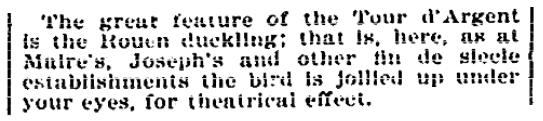 An article about La Tour d'Argent restaurant in Paris, Evening Star newspaper article 27 June 1896