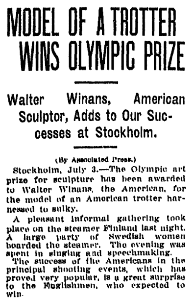 An article about the Olympic Games, Grand Rapids Press newspaper article 3 July 1912