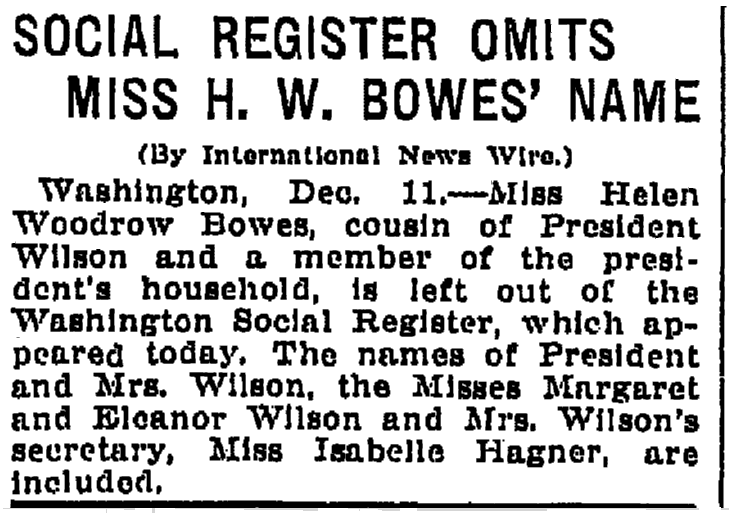 An article about social registers, Grand Rapids Press newspaper article 11 December 1913
