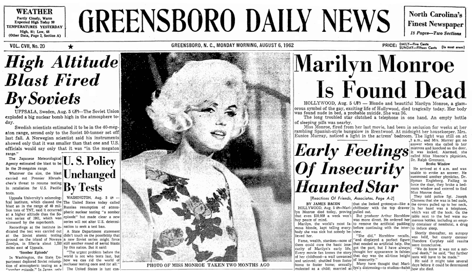 Front page news about the death of Marilyn Monroe, Greensboro Daily News newspaper article 6 August 1962