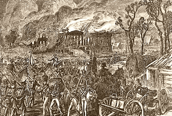 "Illustration: ""Capture and Burning of Washington by the British, in 1814,"" from an 1876 publication. Credit: U.S. Library of Congress, Prints and Photographs Division."