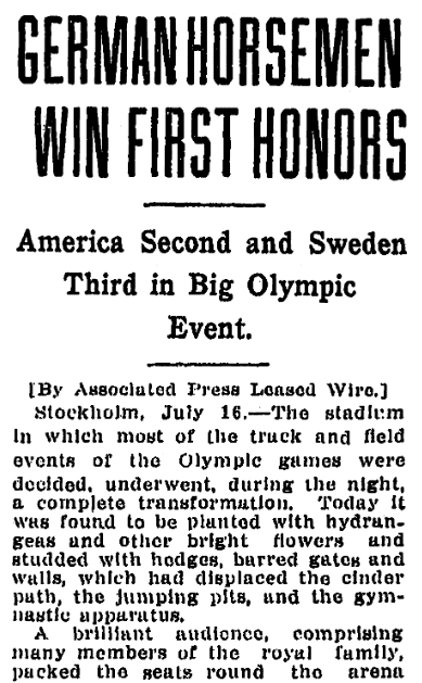 An article about the Olympic Games, Jackson Citizen Patriot newspaper article 16 July 1912