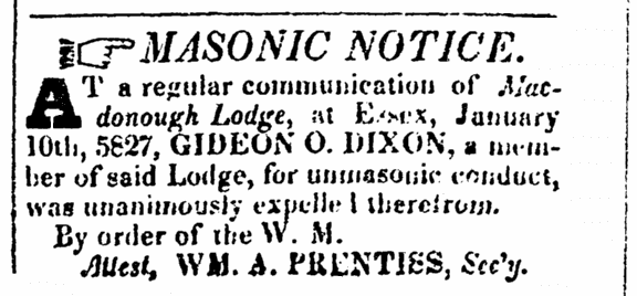 An article about Gideon Dixon, New-Hampshire Statesman newspaper article 10 February 1827