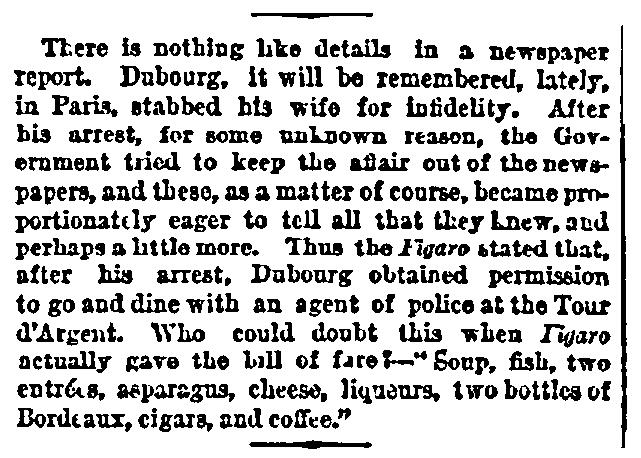 An article about La Tour d'Argent restaurant in Paris, New York Tribune newspaper article 17 May 1872