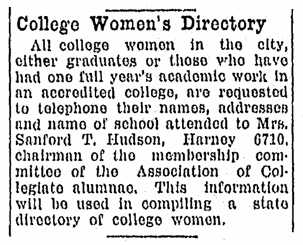 An article about college women's directories, Omaha World-Herald newspaper article 1 February 1920
