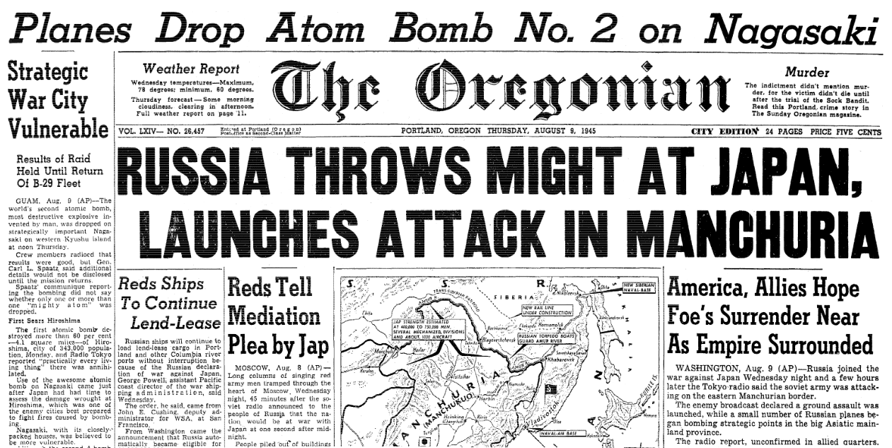 An article about the atomic bombing of Nagasaki, Japan, Oregonian newspaper article 9 August 1945