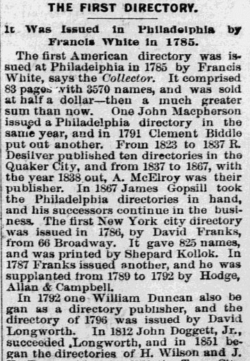 An article about city directories, Philadelphia Inquirer newspaper article 15 May 1892