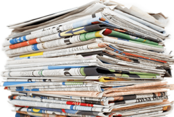 A photo of a stack of newspapers