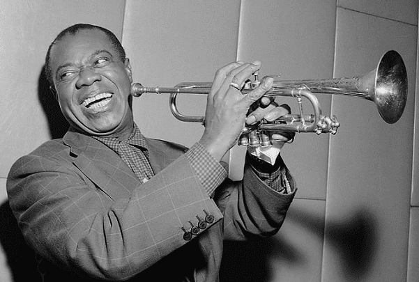 Photo: Louis Armstrong, 1955. Credit: Herbert Behrens / Anefo; Wikimedia Commons.