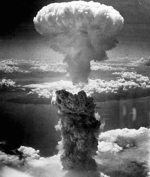Photo: the atomic bomb mushroom cloud over Nagasaki, Japan, on 9 August 1945