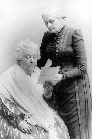 Photo: Elizabeth Cady Stanton (seated) with Susan B. Anthony (standing)