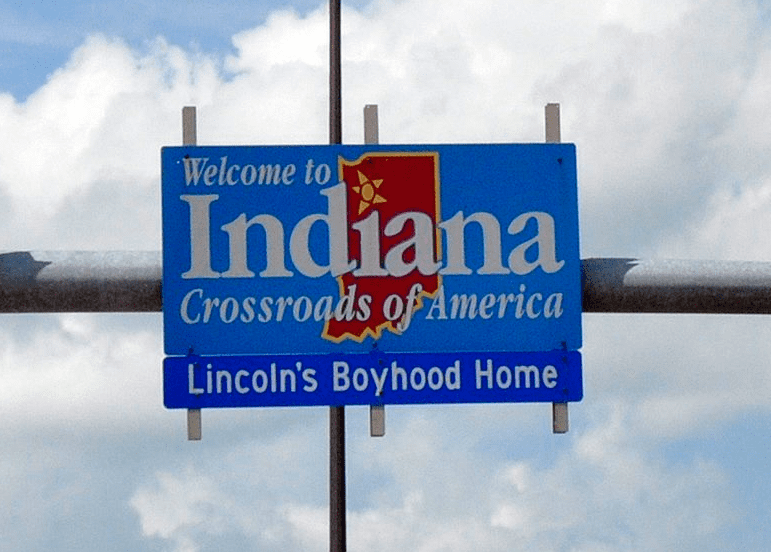 Photo: Indiana welcome sign on Interstate 65