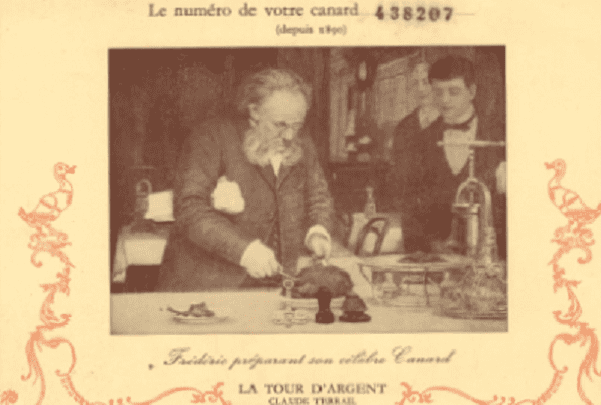 "Photo: postcard from the Paris restaurant ""La Tour d'Argent."" Credit: Mary Harrell-Sesniak."