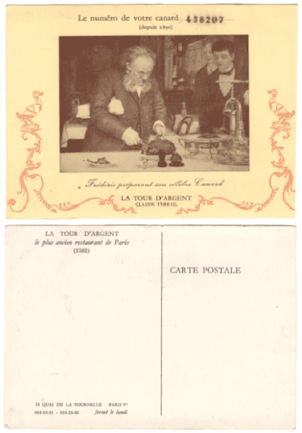 """Photo: postcard from the Paris restaurant """"La Tour d'Argent"""""""