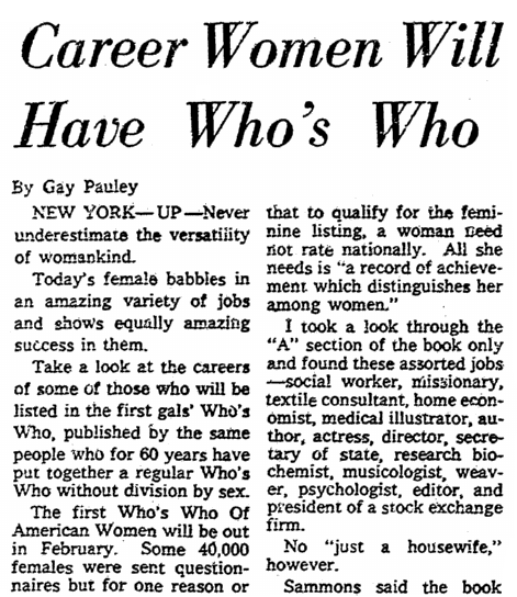 "An article about women's ""Who's Who"" directories, Sacramento Bee newspaper article 18 December 1957"