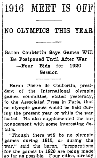 An article about the Olympic Games, Springfield Republican newspaper article 11 April 1916