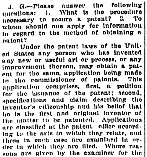 "A ""Questions and Answers"" column, Times-Picayune newspaper article 5 March 1916"