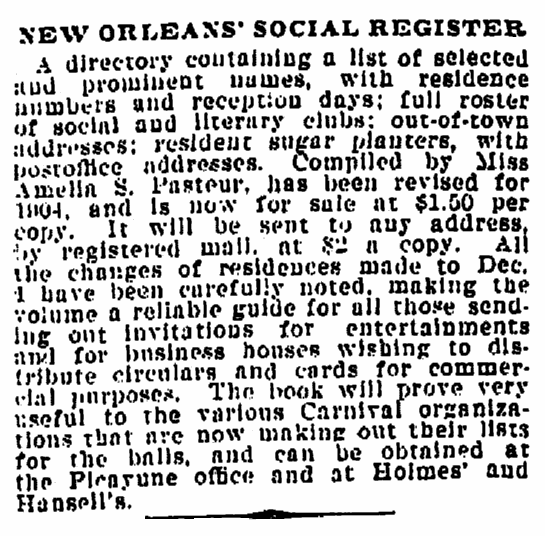 An article about social registers, Times-Picayune newspaper article 3 May 1904
