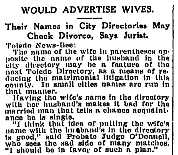 An article about city directories, Times-Picayune newspaper article 24 December 1916