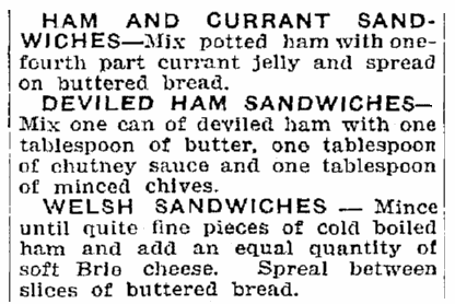 Ham sandwich recipes, Trenton Evening Times newspaper article 14 January 1915