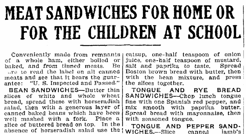 An article about meat sandwiches, Trenton Evening Times newspaper article 14 January 1915
