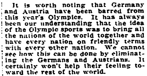 An article about the Olympic Games, Trenton Evening Times newspaper article 18 April 1920