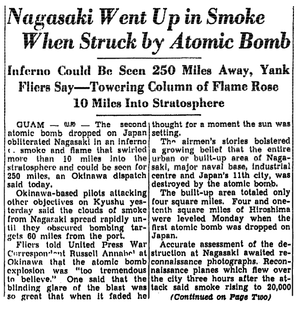 An article about the atomic bombing of Nagasaki, Japan, Trenton Evening Times newspaper article 10 August 1945