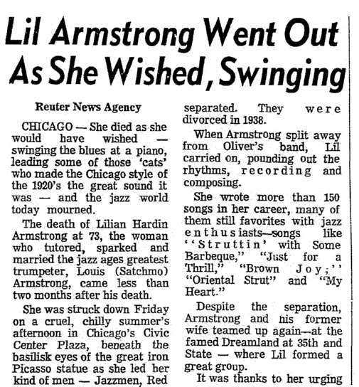 An obituary for jazz musician Lillian Armstrong, Wichita Eagle newspaper article 30 August 1971