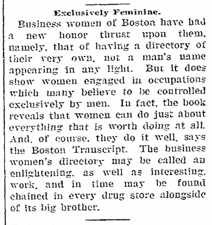 An article about women's business directories, Woodbury Daily Times newspaper article 9 September 1903