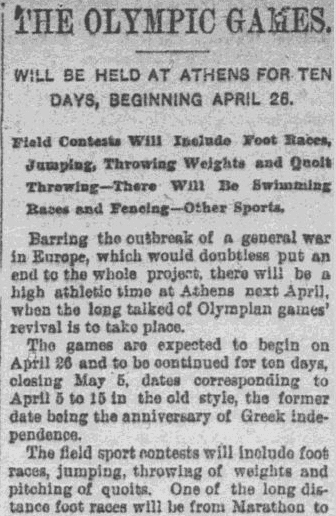 An article about the Olympic Games, Worcester Daily Spy newspaper article 25 January 1896