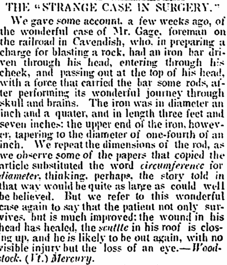 An article about Phineas Gage's accident, Alexandria Gazette newspaper article 20 October 1848