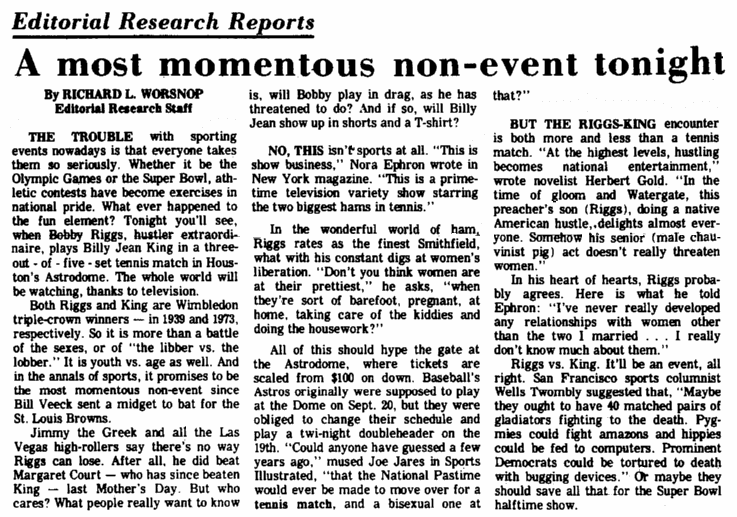 An editorial about the Bobby Riggs v.Billie Jean King tennis match in 1973, Augusta Chronicle newspaper article 20 September 197