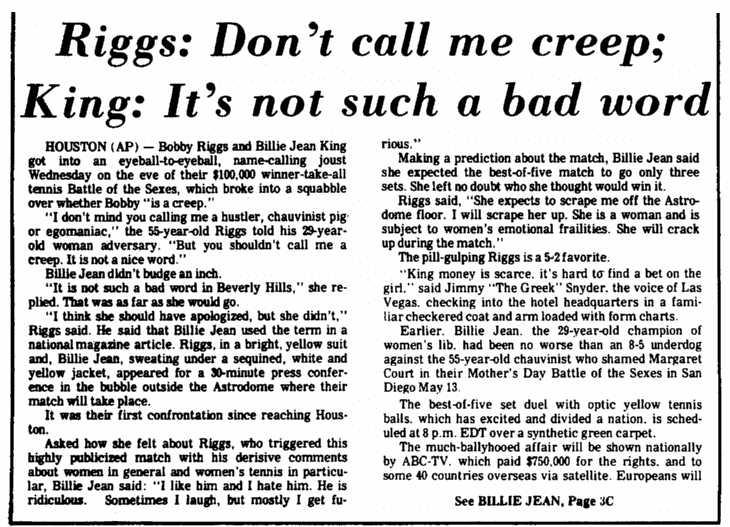 An article about the Bobby Riggs v.Billie Jean King tennis match in 1973, Augusta Chronicle newspaper article 20 September 1973