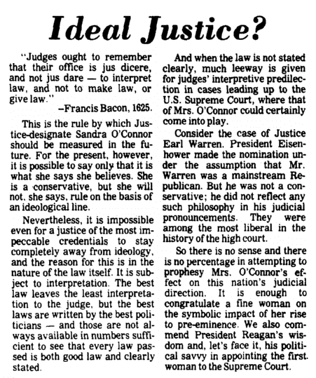 An article about Sandra Day O'Connor being unanimously confirmed by the U.S. Senate to become the first woman justice on the Supreme Court, Augusta Chronicle newspaper article 24 September 1981