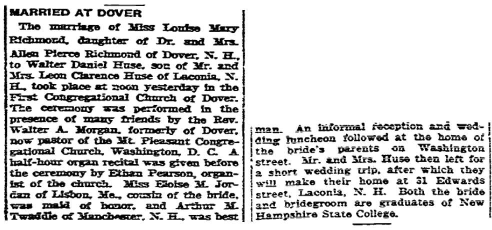 Marriage notice for Louise Richmond and Walter Huse, Boston Herald newspaper article 13 August 1922