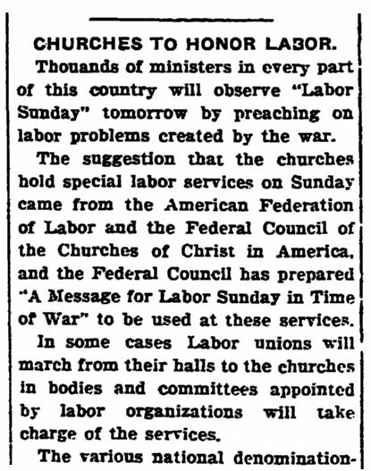 An article about church sermons on Labor Day, Bridgeton Evening News newspaper article 1 September 1917