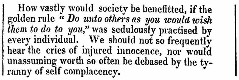 An article on the Golden Rule, Columbian Museum newspaper article 11 February 1817