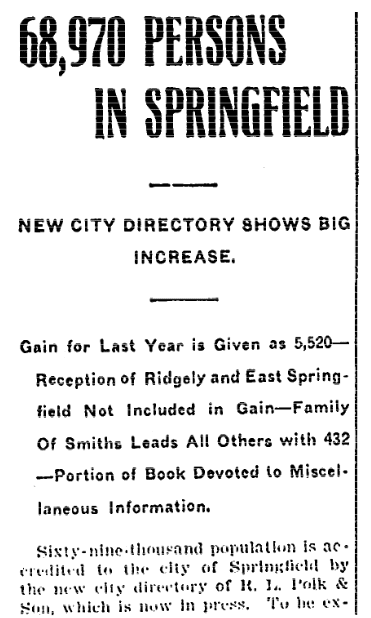 An article about city directories, Daily Illinois State Journal newspaper article 8 October 1907