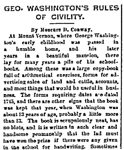 An article on George Washington's etiquette book, Daily Inter Ocean newspaper article 4 January 1891