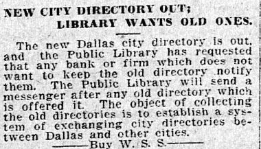 An article about city directories, Dallas Morning News newspaper article 6 September 1918