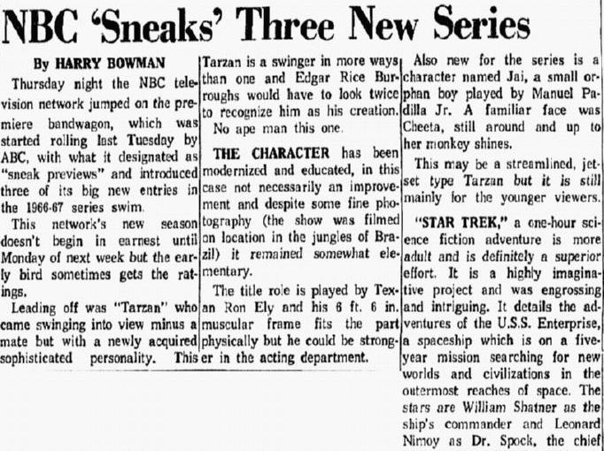 "A review of ""Star Trek,"" Dallas Morning News newspaper article 9 September 1966"