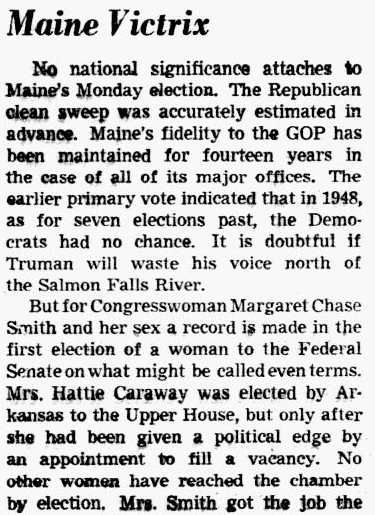 An article about Margaret Chase Smith, Dallas Morning News newspaper article 15 September 1948