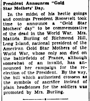 An article about Gold Star Mother's Day, Evening Star newspaper article 13 September 1936