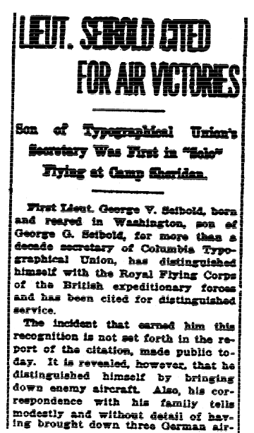 An article about WWI and George Seibold, Evening Star newspaper article 28 September 1918