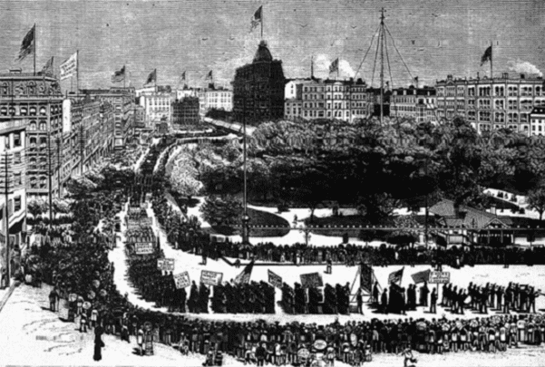 Illustration: the first American Labor parade held in New York City on 5 September 1882 as it appeared in Frank Leslie's Weekly Illustrated Newspaper's 16 September 1882 issue. Credit: Wikimedia Commons.