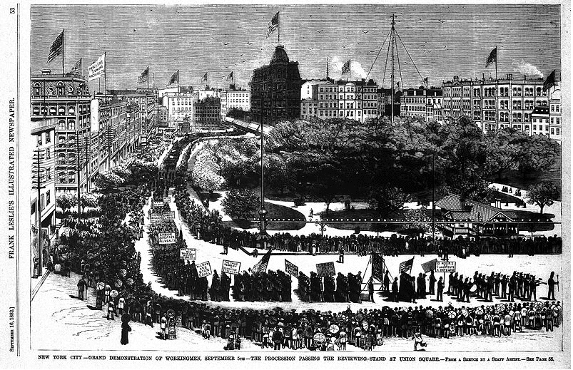 Illustration: the first American Labor parade held in New York City on 5 September 1882 as it appeared in Frank Leslie's Weekly Illustrated Newspaper's 16 September 1882 issue