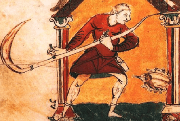 Illustration: German peasant with scythe, c. 850. Credit: Wikimedia Commons.