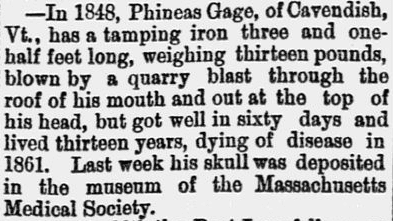 An article about Phineas Gage's accident, Jamestown Journal newspaper article 19 June 1868